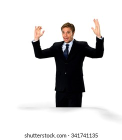 Amazed Caucasian man with short medium blond hair in business formal outfit with arms open - Isolated