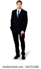 Amazed Caucasian man with short medium blond hair in business formal outfit with hands in pockets - Isolated