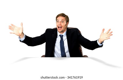 Amazed Caucasian man with short medium blond hair in business formal outfit talking with hands - Isolated