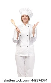 amazed female chef, cook or baker with wooden spoon isolated on white background. cooking and food concept