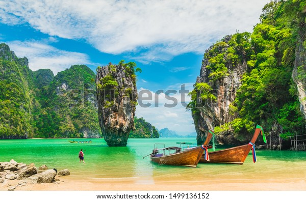 Amazed nature scenic landscape James bond island with boat for traveler Phang-Nga bay, Attraction famous landmark tourist travel Phuket Thailand summer vacation trips, Tourism destinations place Asia