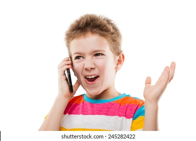 Amazed and surprised child boy hand holding mobile phone or talking smartphone white isolated