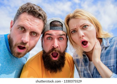 Amazed surprised face expression. How to impress people. Shocking impression. Men with beard and woman looking shocked. No way. Friends shocked faces looking at you. That is impossible. Shocking news.