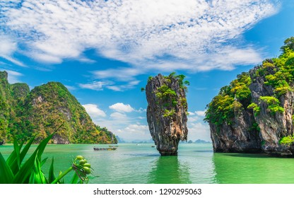 Amazed tropical nature scenic landscape James Bond island Phang-Nga bay, Famous fantastic landmark travel Phuket Thailand Tourism beautiful destination popular place Asia, Summer holiday vacation trip