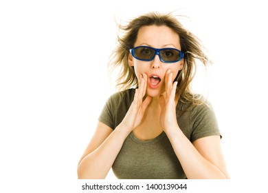Amazed woman 3D glasses experiencing 5D cinema effect - wind