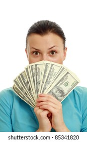 Amazed young woman with cash isolated