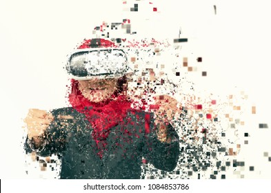 Amazed young women wearing virtual reality goggles over abstract background
