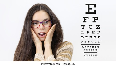 amazement female face with spectacles on eyesight test chart background, eye examination ophthalmology concept