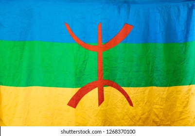 Amazigh flag. Berber flag proposed by the Amazigh World Congress in 1997