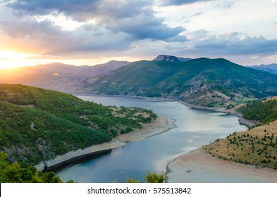 amazin landscape in sunset with mountain green nature and lake river