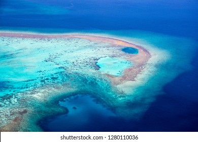Amazing aerial of the beautiful atolls of the Maldives.