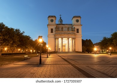 Amazing aerial citycape with cathedral. Vac is a fantastic city not too far from Budapest in Hungary. This baroque style old historical church built in 1761.