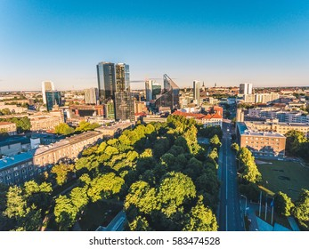 Amazing aerial drone shot of modern business district of Tallinn, Estonia
