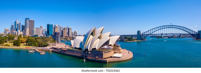Amazing aerial footage view of the Sydney city from above with Harbour bridge, Opera house ant the harbour. April 10, 2016. Sydney, Australia