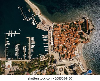 Amazing aerial images of old town Budva. Budva is a town in Montenegro on the Adriatic Sea. Part of the Budva Riviera, it's known for sandy beaches and nightlife.