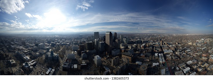 Amazing aerial panorama of Downtown Denver Colorado USA