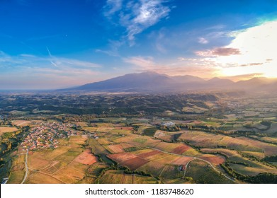 Amazing aerial scenic view of Mountain Olympus in Greece against a cloudy sky. Mount Olympus is the highest mountain in Greece with an elevation of 2,918 meters between Thessaly and Macedonia, Greece.