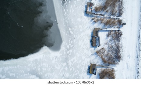 Amazing aerial shot about a frozen lake.