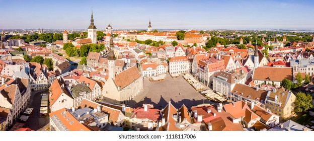 Amazing aerial Skyline of Tallinn Town Hall Square with Old Market Square, Estonia. Beautiful old medieval town in Estonia.