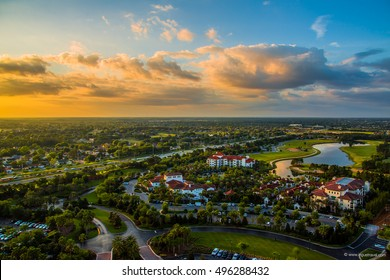 Amazing aerial sunset panorama view in Orlando, Florida state. Awesome wallpaper orange sunset. Landscape view.
