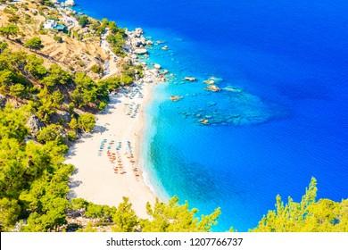 Amazing aerial view of Apella beach on sea coast of Karpathos island, Greece