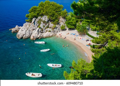 amazing aerial view of the beautiful Podrace beach in Brela, Makarska Riviera, Croatia