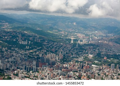 Amazing aerial view of the city of Caracas from the iconic mountain of the capital of Venezuela, El Avila or Waraira Repano.