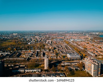 Amazing aerial view of the Den Bosch city, 's-Hertogenbosch, the Netherlands with blue sky in the winter.