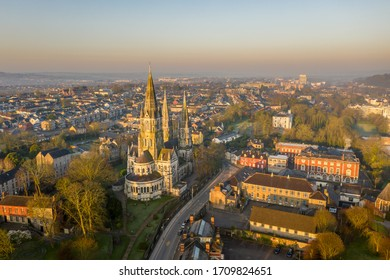 Amazing aerial view drone Cork City center Ireland Irish landmark downtown building St Fin Barre's Cathedral sunrise morning