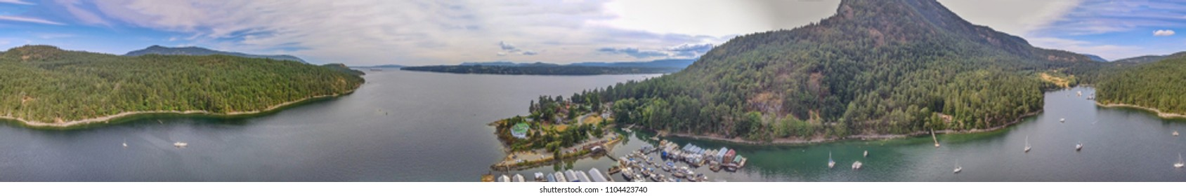Amazing aerial view of Genoa Bay in Vancouver Island, Canada.