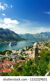 Amazing Aerial view of Kotor bay and Old Town. Montenegro
