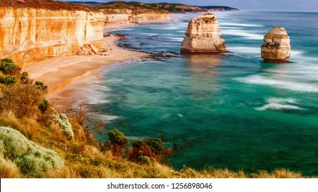 Amazing aerial view of limestone rocks above the ocean, Great Ocean Road, Australia.