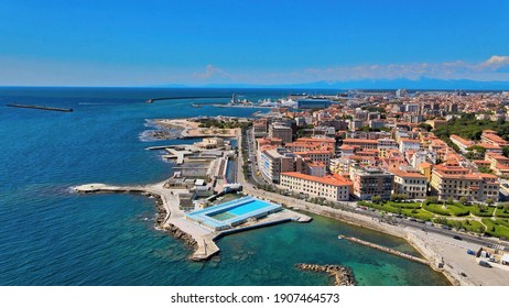 Amazing aerial view of Livorno coastline, Tuscany. Leghorn from the drone