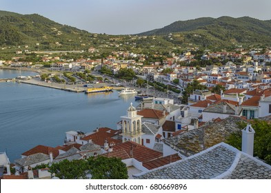 Amazing aerial view over Skopelos island, Greece. Located between Skiathos and Alonissos, Skopelos is a beautiful island that attracts mostly families and romantic couples.
