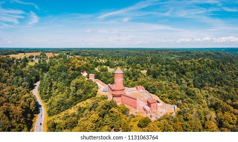 Amazing Aerial View over the Turaida Castle during Sunset Time, Sigulda, Latvia, Touristic Place, Beautiful Wallpaper