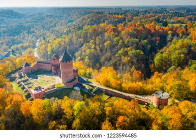 Amazing Aerial View over the Turaida Castle during Golden Hours, Sunset Time, Sigulda, Latvia, Touristic Place, Beautiful Wallpaper