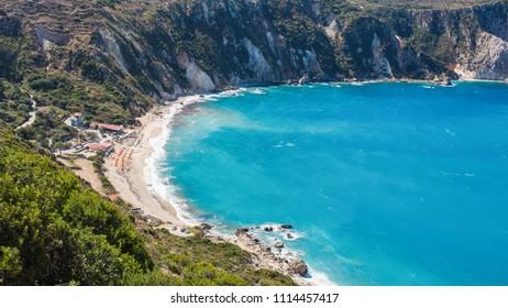 Amazing aerial view of Petani Beach on the Kefalonia Island, Greece