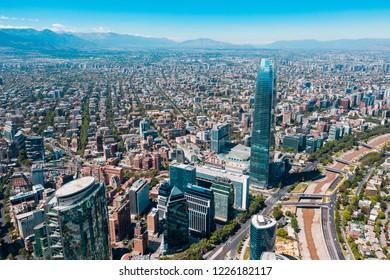 Amazing aerial view of Santiago de Chile