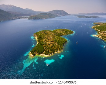 Amazing aerial view of Thilia island in Greece. In distance is famous Scorpios island, from the left side is Lefkada island and from right is a part of gorgeous Meganisi island.
