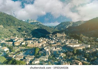 amazing aerial view of Valldemossa, Mallorca, Spain