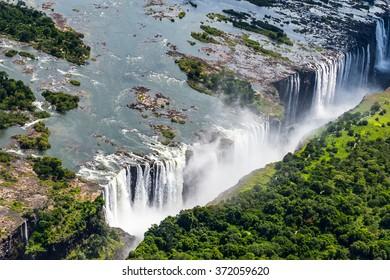 Amazing air view  of the Victoria Falls, Zambia and Zimbabwe. UNESCO World Heritage