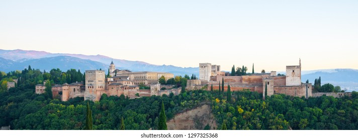 Amazing Alhambra At Dusk View From Mirador de San Nicolás Viewpoint