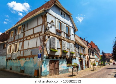 amazing architecture of Alsace in Beblenheim town, France