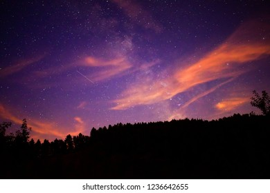 amazing astrophotography in the black forest in Germany. Milky way in the sky