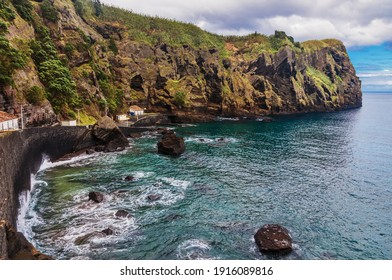 Amazing atlantic ocean view with rocks of Sao Miguel island, Azores, Portugal
