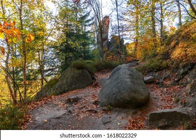 Amazing autumn day in rocks, Broumovske steny, Adrspach rocks, Czech republic - Shutterstock ID 1618022329