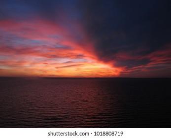Amazing autumn sunset over Volga river in Russia