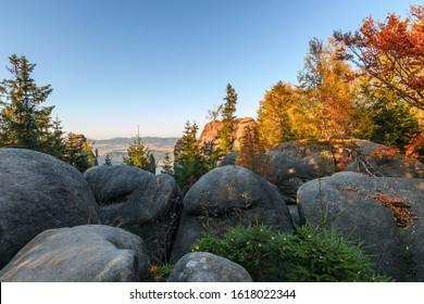 Amazing autumn view in Adrspach rocks, Broumovske skaly, Czech republic - Shutterstock ID 1618022344