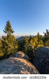 Amazing  autumn view into the landscape with rocks,Broumovske steny, Adrspach rocks, Czech republic  - Shutterstock ID 1618022356