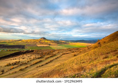 Amazing autumn view from Rana Hill in Central Bohemian Uplands, Czech Republic. Central Bohemian Uplands is a mountain range located in northern Bohemia. The range is about 80 km long.
